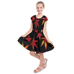 Colorful Autumn Leaves On Black Background Kids  Short Sleeve Dress