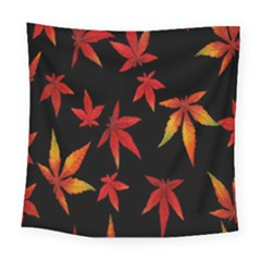 Colorful Autumn Leaves On Black Background Square Tapestry (large)