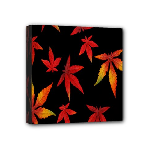 Colorful Autumn Leaves On Black Background Mini Canvas 4  X 4