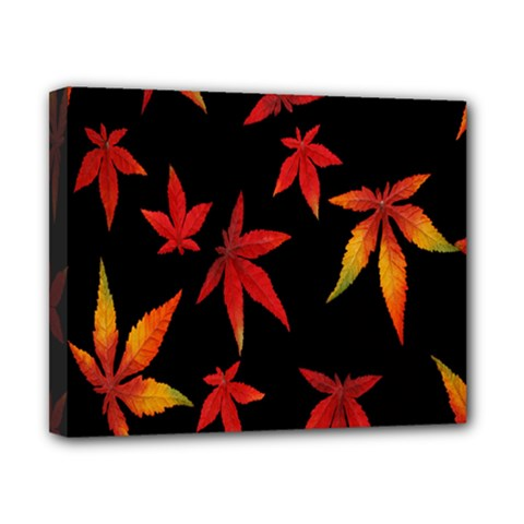 Colorful Autumn Leaves On Black Background Canvas 10  X 8