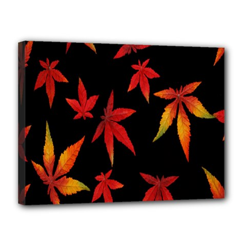 Colorful Autumn Leaves On Black Background Canvas 16  X 12