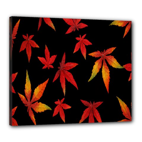 Colorful Autumn Leaves On Black Background Canvas 24  X 20