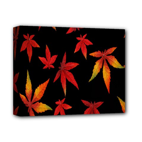 Colorful Autumn Leaves On Black Background Deluxe Canvas 14  x 11