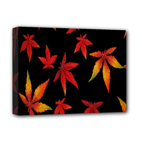 Colorful Autumn Leaves On Black Background Deluxe Canvas 16  X 12