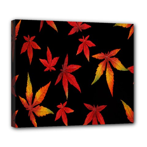 Colorful Autumn Leaves On Black Background Deluxe Canvas 24  x 20