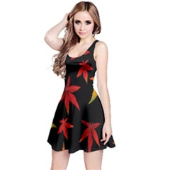 Colorful Autumn Leaves On Black Background Reversible Sleeveless Dress