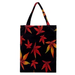 Colorful Autumn Leaves On Black Background Classic Tote Bag