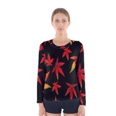 Colorful Autumn Leaves On Black Background Women s Long Sleeve Tee