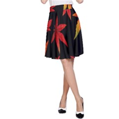 Colorful Autumn Leaves On Black Background A Line Skirt