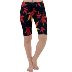 Colorful Autumn Leaves On Black Background Cropped Leggings