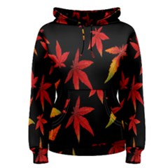 Colorful Autumn Leaves On Black Background Women s Pullover Hoodie