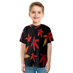 Colorful Autumn Leaves On Black Background Kids  Sport Mesh Tee