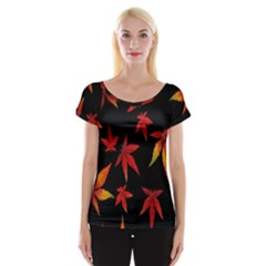 Colorful Autumn Leaves On Black Background Women s Cap Sleeve Top