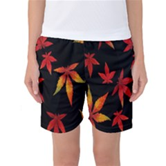 Colorful Autumn Leaves On Black Background Women s Basketball Shorts