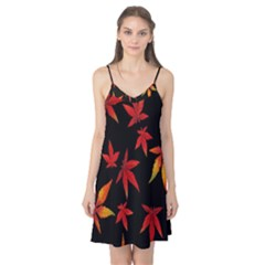 Colorful Autumn Leaves On Black Background Camis Nightgown