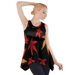 Colorful Autumn Leaves On Black Background Side Drop Tank Tunic