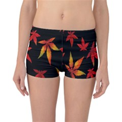 Colorful Autumn Leaves On Black Background Reversible Bikini Bottoms