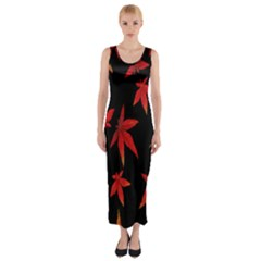 Colorful Autumn Leaves On Black Background Fitted Maxi Dress