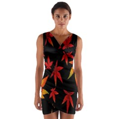 Colorful Autumn Leaves On Black Background Wrap Front Bodycon Dress