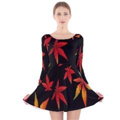 Colorful Autumn Leaves On Black Background Long Sleeve Velvet Skater Dress