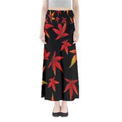 Colorful Autumn Leaves On Black Background Maxi Skirts