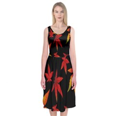 Colorful Autumn Leaves On Black Background Midi Sleeveless Dress