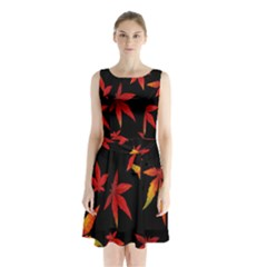 Colorful Autumn Leaves On Black Background Sleeveless Chiffon Waist Tie Dress