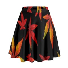 Colorful Autumn Leaves On Black Background High Waist Skirt
