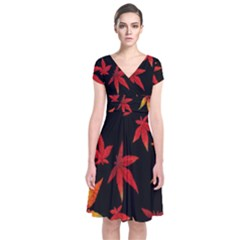 Colorful Autumn Leaves On Black Background Short Sleeve Front Wrap Dress