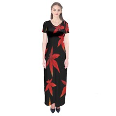 Colorful Autumn Leaves On Black Background Short Sleeve Maxi Dress