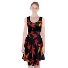 Colorful Autumn Leaves On Black Background Racerback Midi Dress