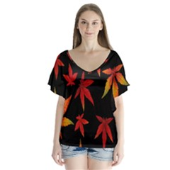 Colorful Autumn Leaves On Black Background Flutter Sleeve Top