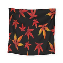 Colorful Autumn Leaves On Black Background Square Tapestry (small)
