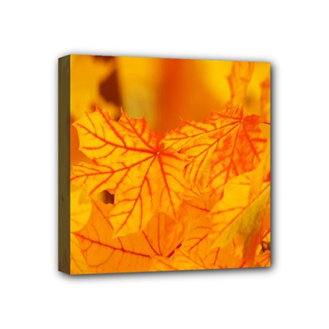 Bright Yellow Autumn Leaves Mini Canvas 4  X 4