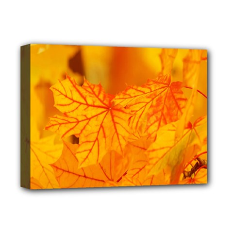 Bright Yellow Autumn Leaves Deluxe Canvas 16  X 12
