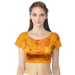 Bright Yellow Autumn Leaves Short Sleeve Crop Top (Tight Fit)