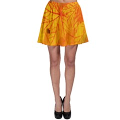 Bright Yellow Autumn Leaves Skater Skirt