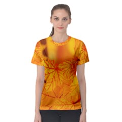 Bright Yellow Autumn Leaves Women s Sport Mesh Tee