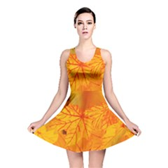 Bright Yellow Autumn Leaves Reversible Skater Dress
