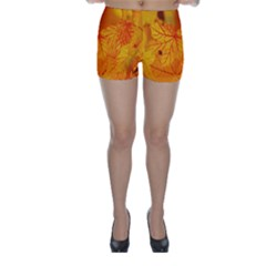 Bright Yellow Autumn Leaves Skinny Shorts