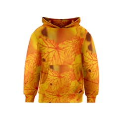 Bright Yellow Autumn Leaves Kids  Pullover Hoodie