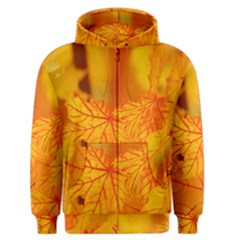 Bright Yellow Autumn Leaves Men s Zipper Hoodie
