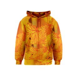 Bright Yellow Autumn Leaves Kids  Zipper Hoodie