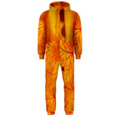 Bright Yellow Autumn Leaves Hooded Jumpsuit (Men)