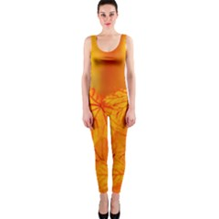 Bright Yellow Autumn Leaves Onepiece Catsuit