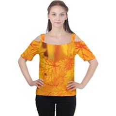 Bright Yellow Autumn Leaves Women s Cutout Shoulder Tee