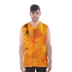 Bright Yellow Autumn Leaves Men s Basketball Tank Top