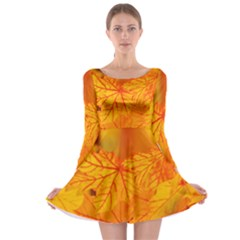Bright Yellow Autumn Leaves Long Sleeve Skater Dress