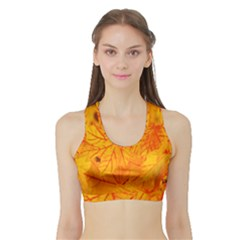 Bright Yellow Autumn Leaves Sports Bra with Border