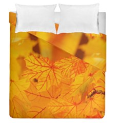 Bright Yellow Autumn Leaves Duvet Cover Double Side (queen Size)